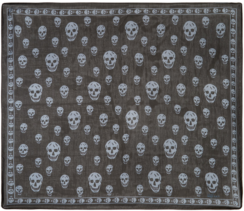 Alexander Mcqueen Blue Skull Scarf