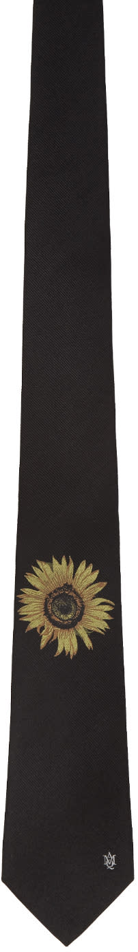 Alexander Mcqueen Black Sunflower Tie