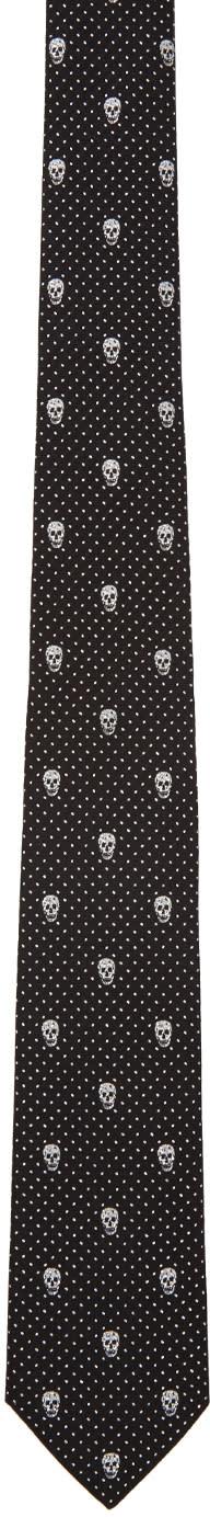 Alexander Mcqueen Black Polka Dot and Skull Tie