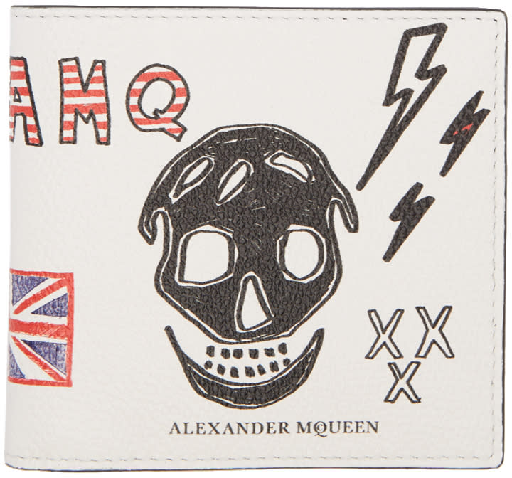 Alexander Mcqueen White Leather Doodle Wallet