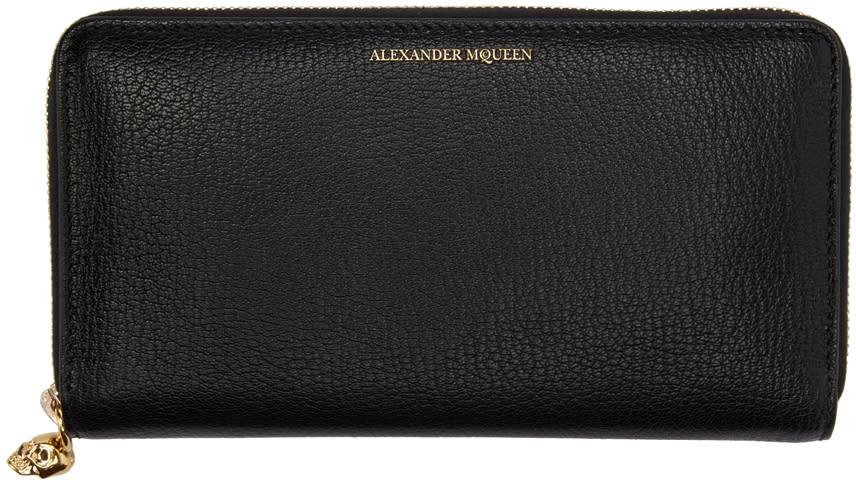 Alexander Mcqueen Black Skull Zip Wallet