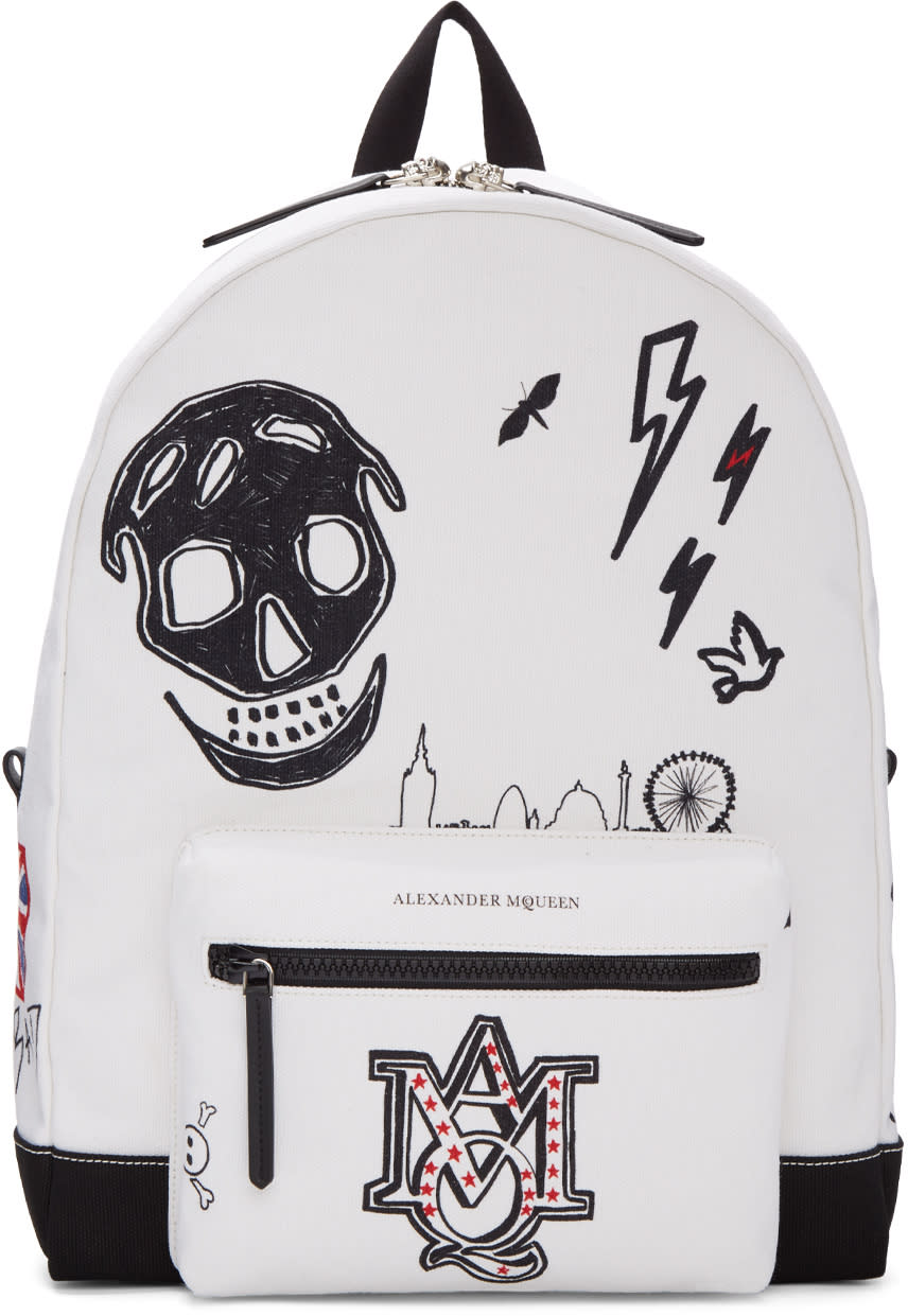 Alexander Mcqueen White Canvas Doodle Backpack
