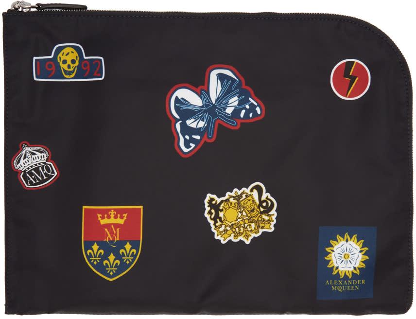Alexander Mcqueen Black Badges Half Zip Pouch