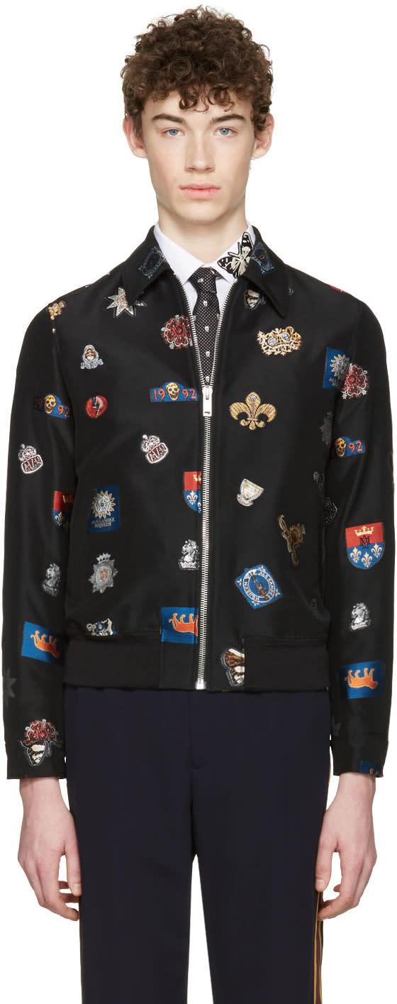 Alexander Mcqueen Black Badges Bomber Jacket