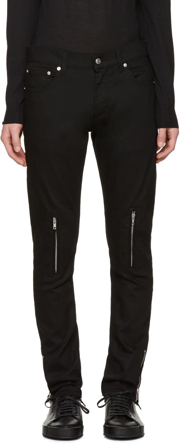 Alexander Mcqueen Black Leather Pockets Jeans