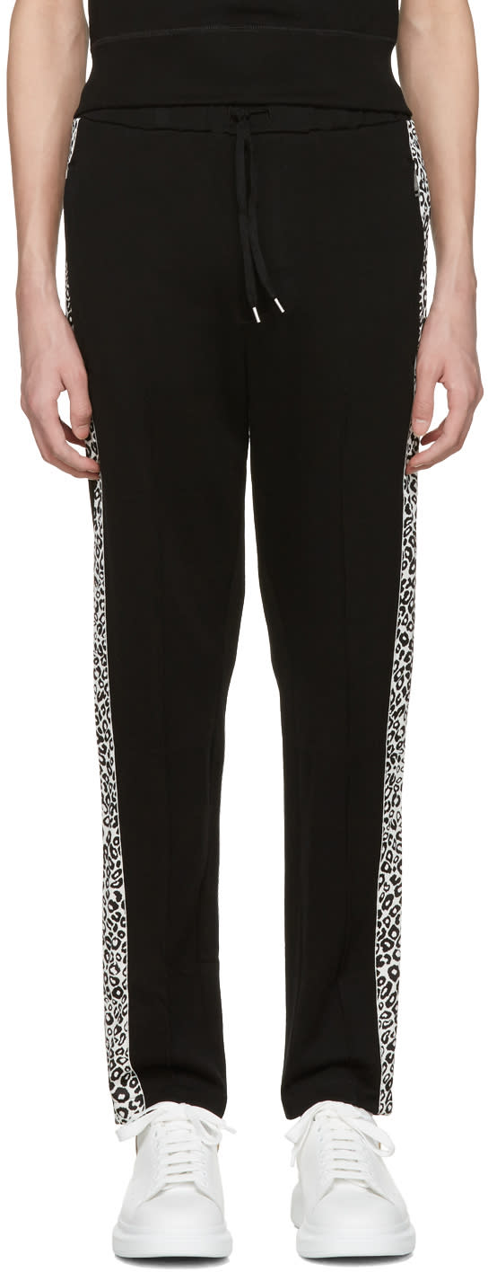 Alexander Mcqueen Black Leopard Lounge Pants