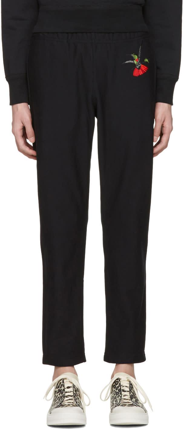 Alexander Mcqueen Black Hummingbird Lounge Pants