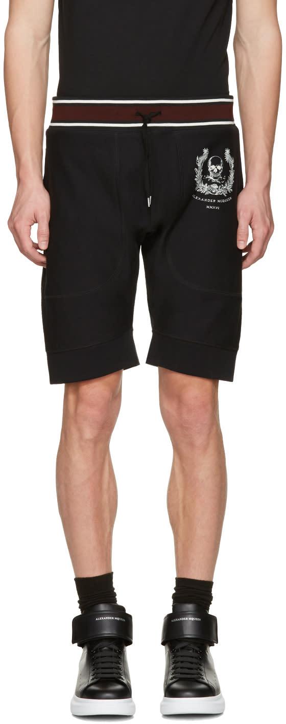 Alexander Mcqueen Black Skull Crown Shorts