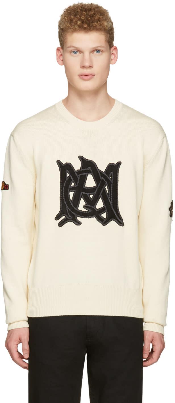 Alexander Mcqueen Ivory Cotton Logo Pullover