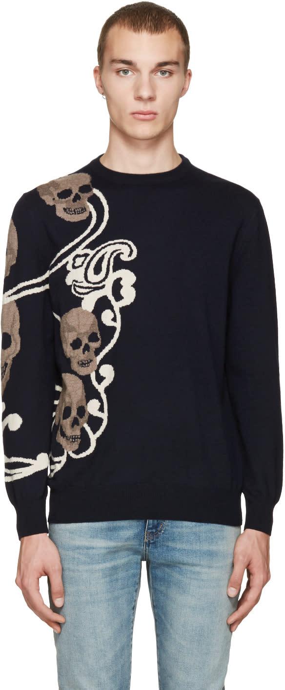 Alexander Mcqueen Navy Jacquard Skull Pullover
