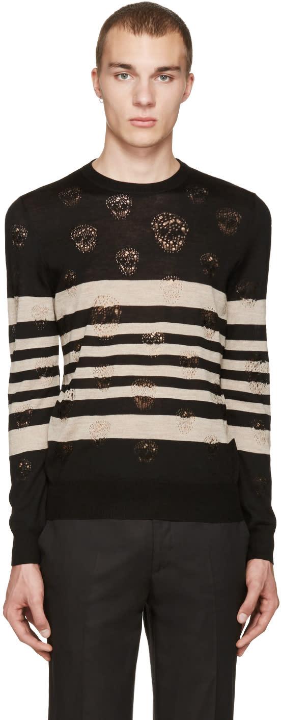 Alexander Mcqueen Black Stripes and Skulls Pullover