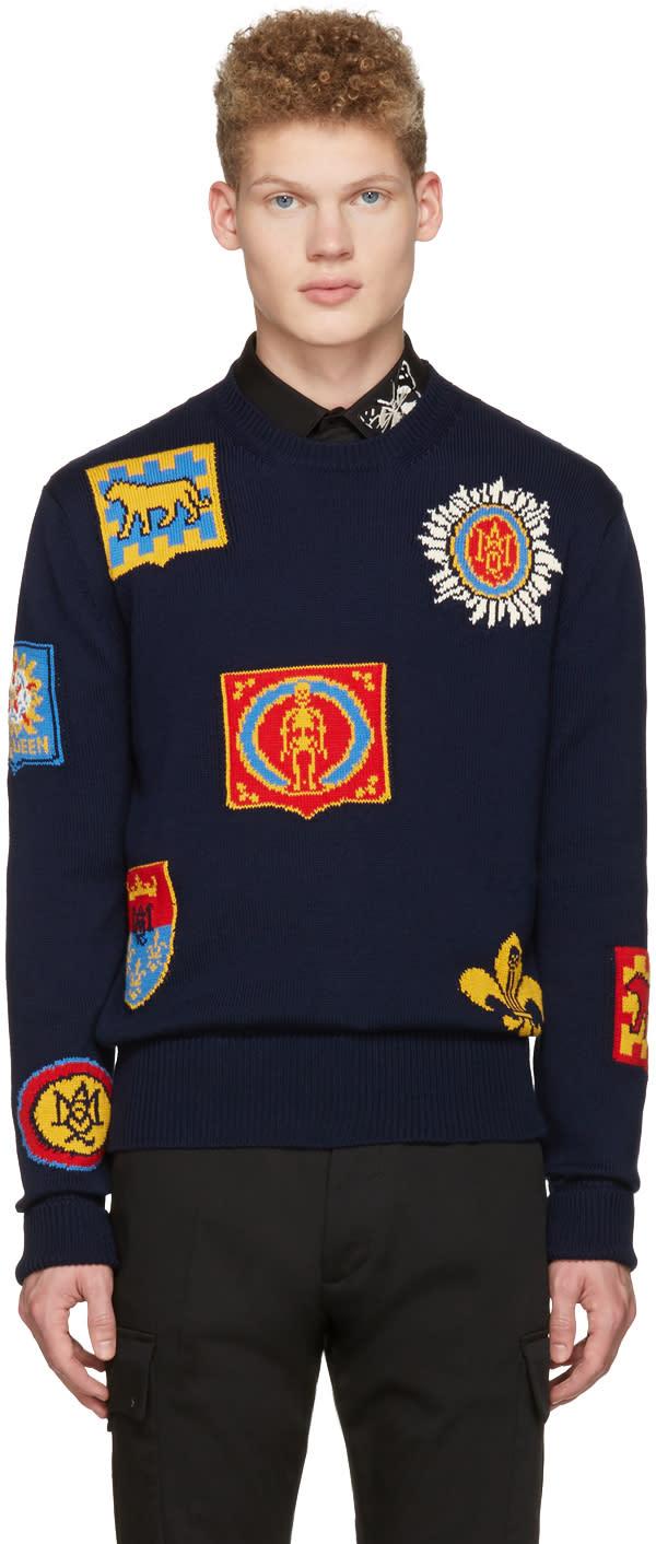 Alexander Mcqueen Navy Jacquard Badge Pullover