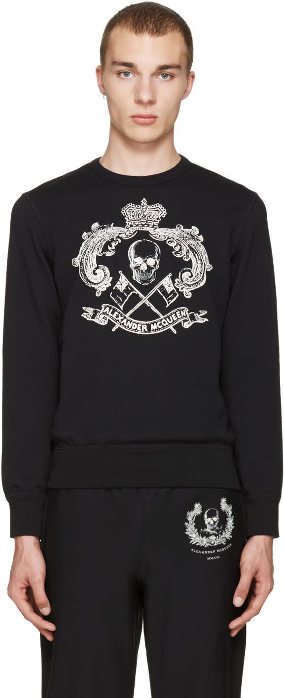 Alexander Mcqueen Black Skull and Crown Pullover