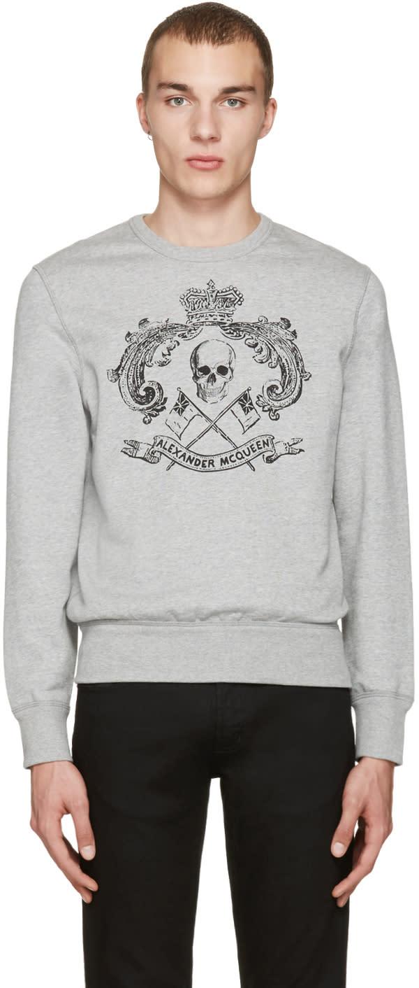Alexander Mcqueen Grey Skull and Crown Pullover