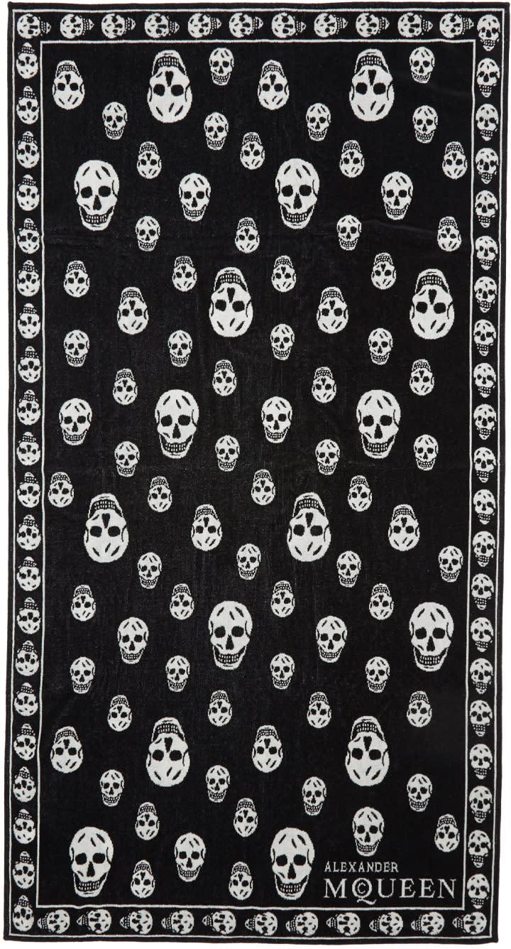 Alexander Mcqueen Black and White Skull Towel