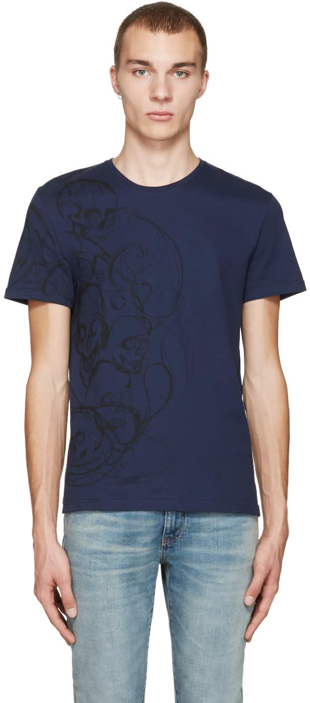 Alexander Mcqueen Navy Skulls and Lines T-shirt
