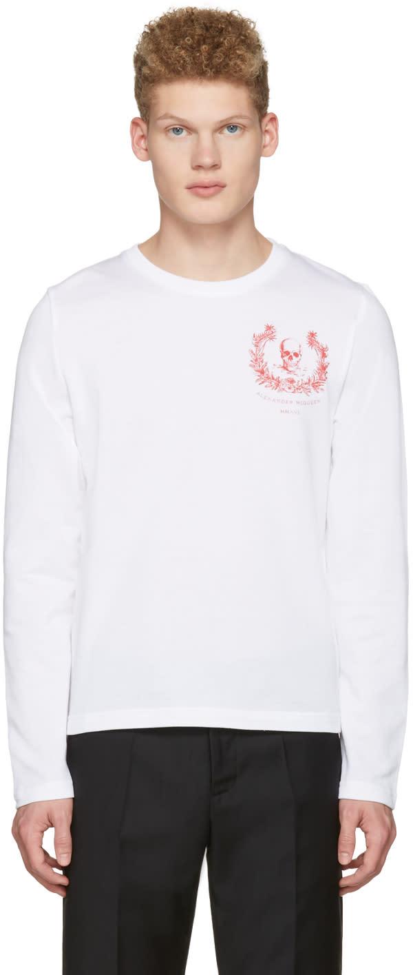 Alexander Mcqueen White Skull Long Sleeve T-shirt