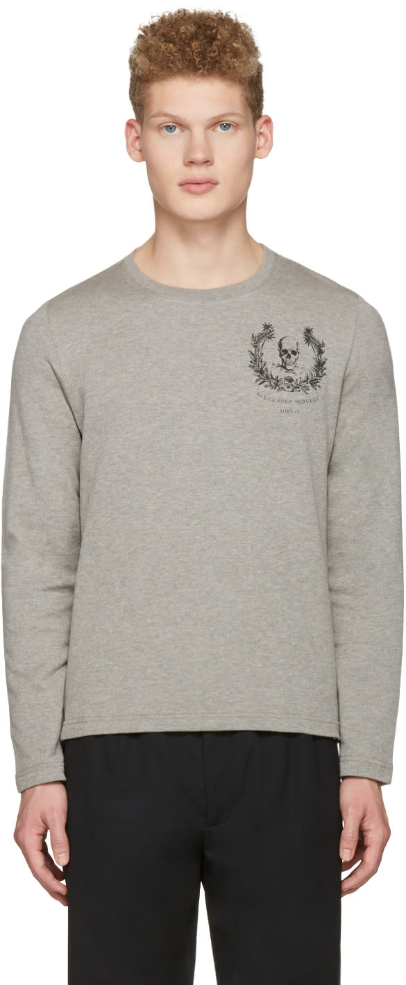 Alexander Mcqueen Grey Skull Long Sleeve T-shirt