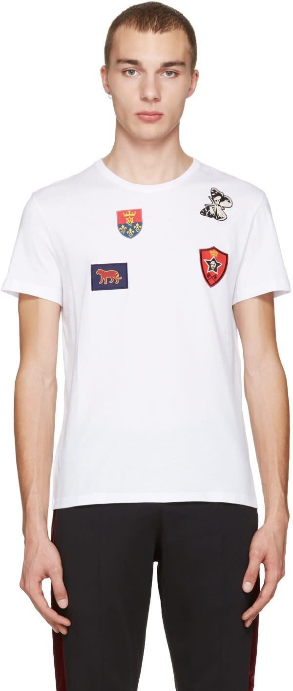 Alexander Mcqueen White Badges and Butterfly T-shirt