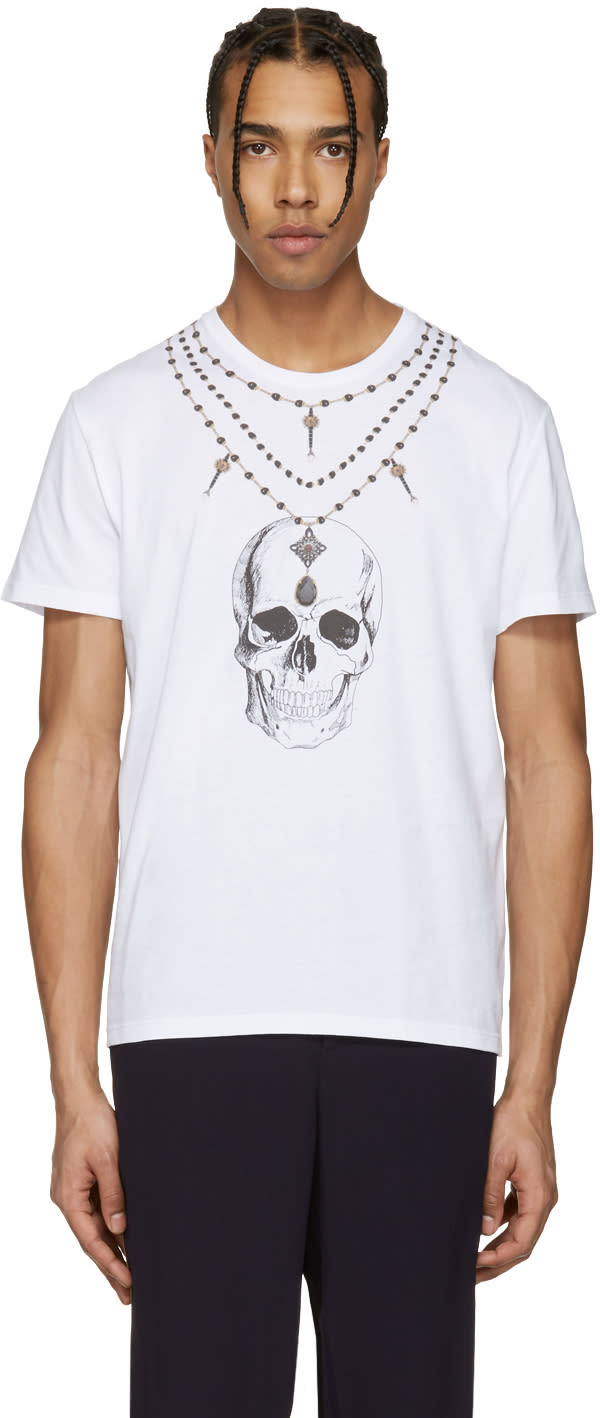 Alexander Mcqueen White Skull Necklace T-shirt