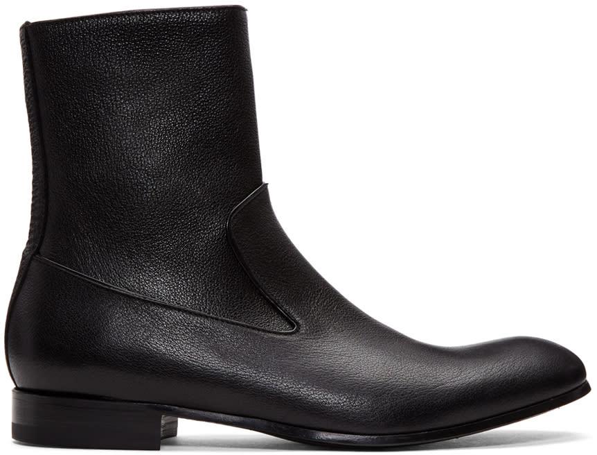 Alexander Mcqueen Black Leather Zip-up Boots