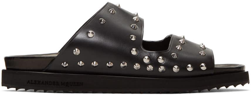 Alexander Mcqueen Black Studded Slide Sandals
