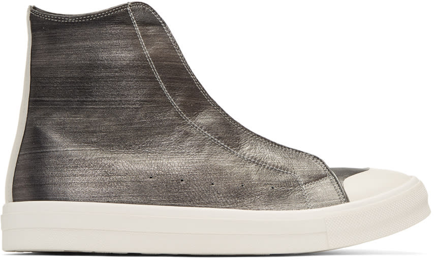Alexander Mcqueen Silver Leather High-top Sneakers