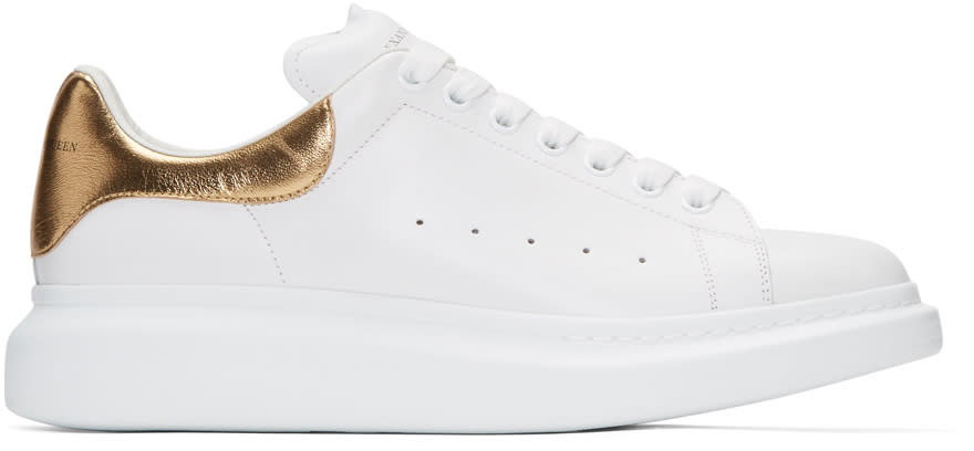 Alexander Mcqueen White and Gold Oversized Sneakers