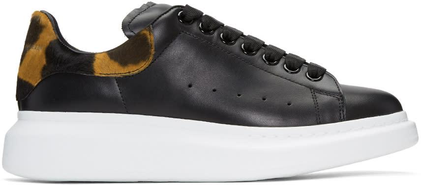 Alexander Mcqueen Black Leopard Oversized Sneakers
