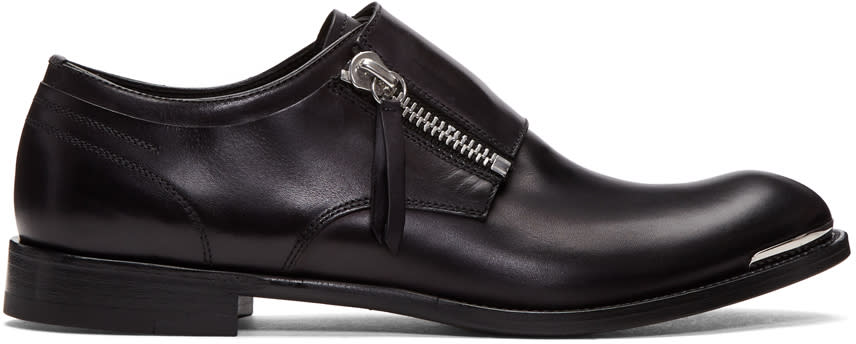 Alexander Mcqueen Black Leather Zip Monkstraps