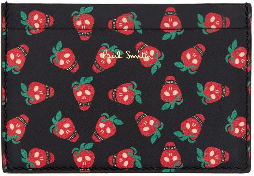 Paul Smith Black Strawberry Skull Card Holder