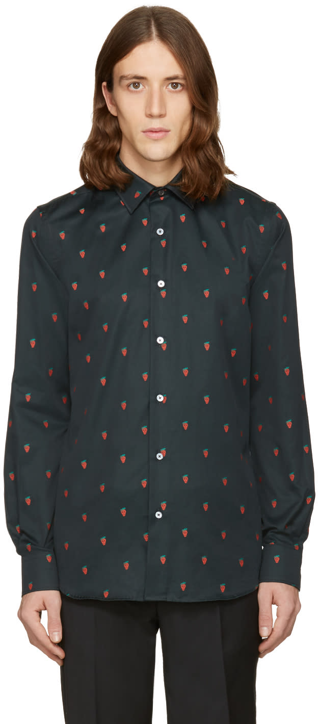 Paul Smith Black Strawberry Skull Shirt