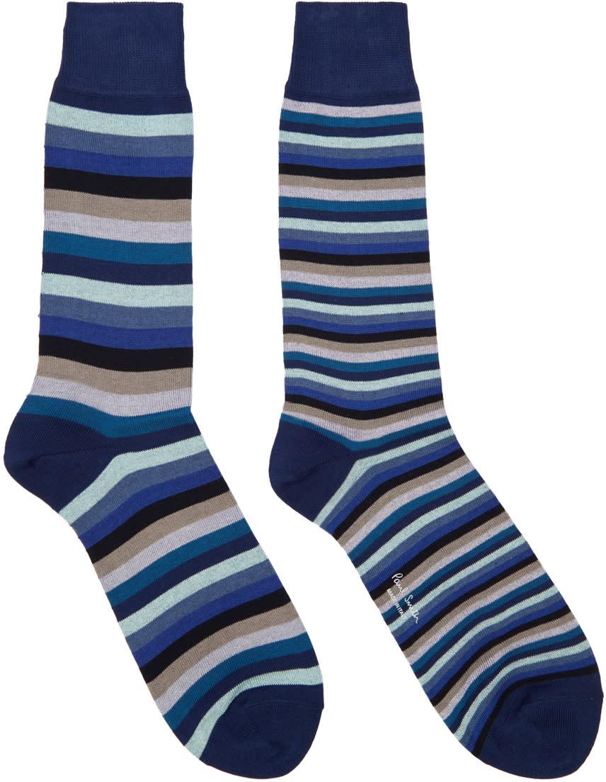 Paul Smith Blue Odd Stripe Socks