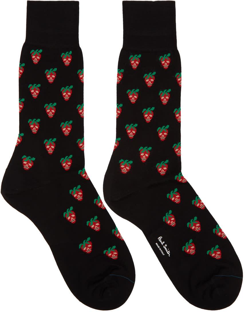 Paul Smith Black Mini Strawberry Socks