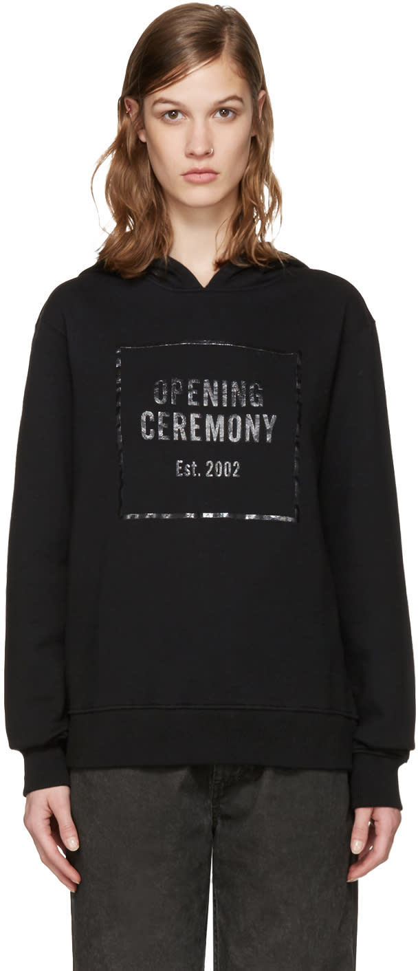 Opening Ceremony Black Gel Box Logo Hoodie