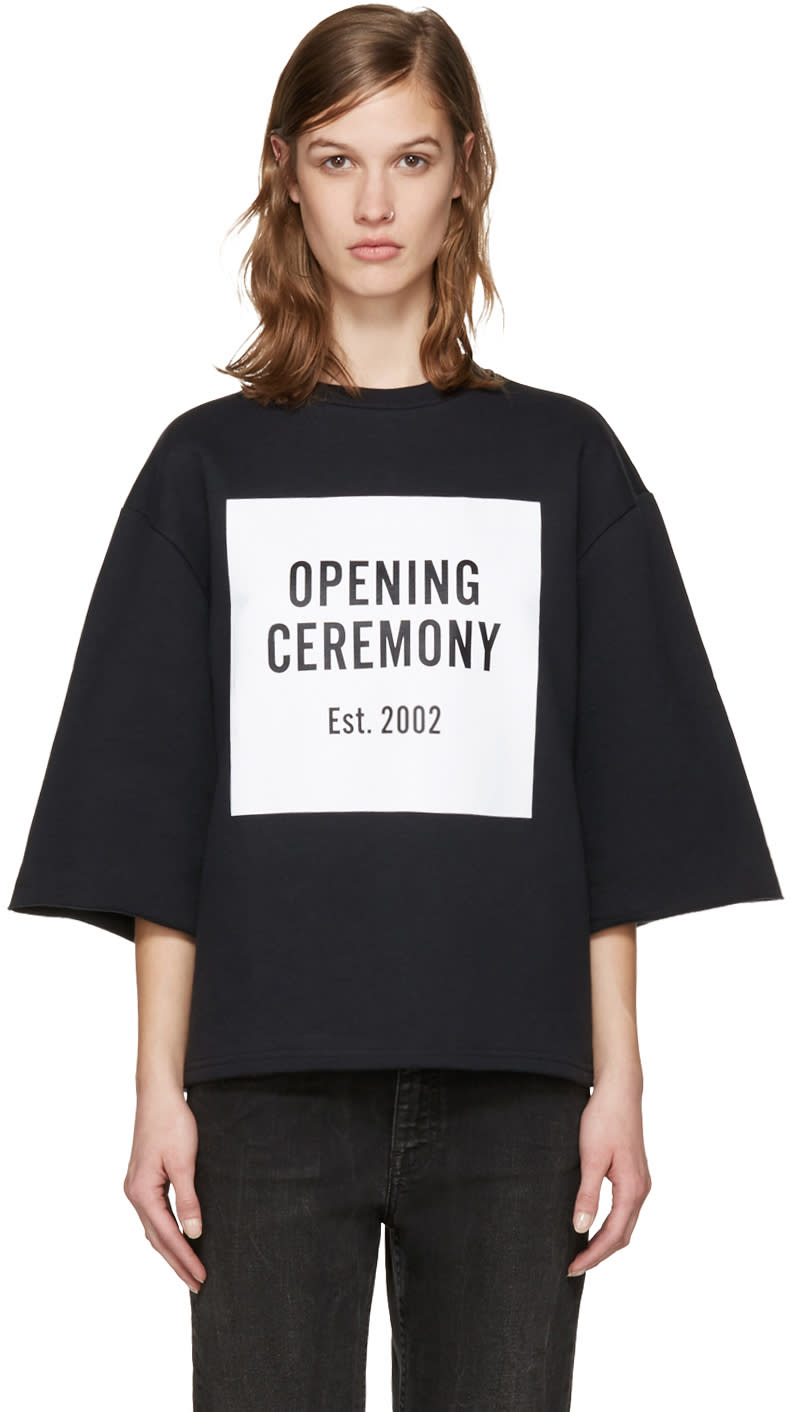 Opening Ceremony Black Oversized Box Logo Sweatshirt