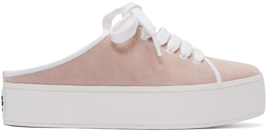Opening Ceremony Pink Suede Cici Lace-up Slide Sneakers