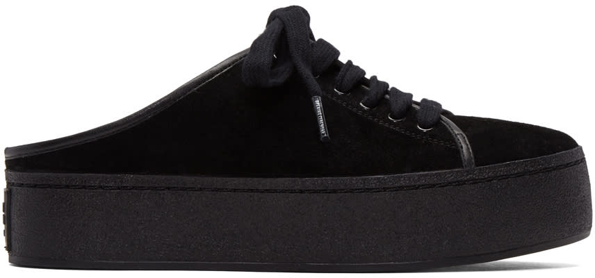 Opening Ceremony Black Suede Cici Lace-up Slide Sneakers