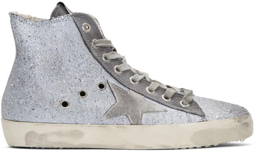 Golden Goose Grey Glitter Francy High-top Sneakers