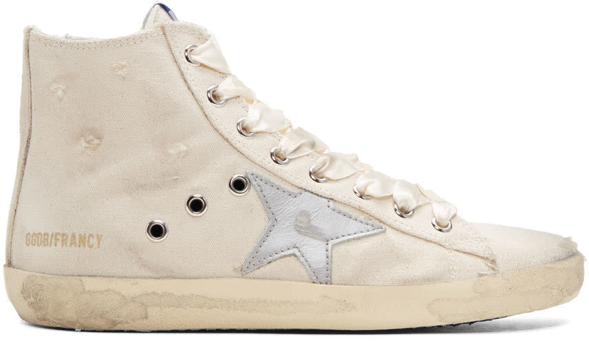 Golden Goose Ivory and Silver Francy High-top Sneakers