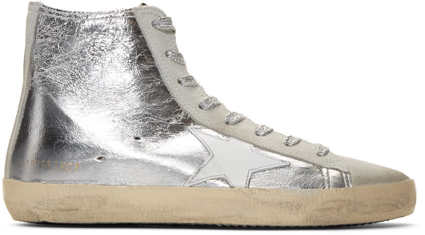 Golden Goose Silver Metallic Francy High-top Sneakers