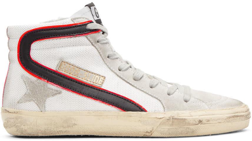 Golden Goose White Mesh Slide High-top Sneakers