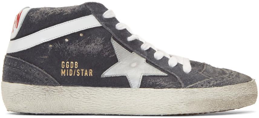 Golden Goose Grey Suede Mid Star Sneakers