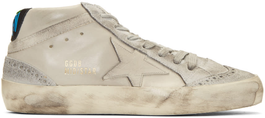Golden Goose Taupe Mid Star Sneakers