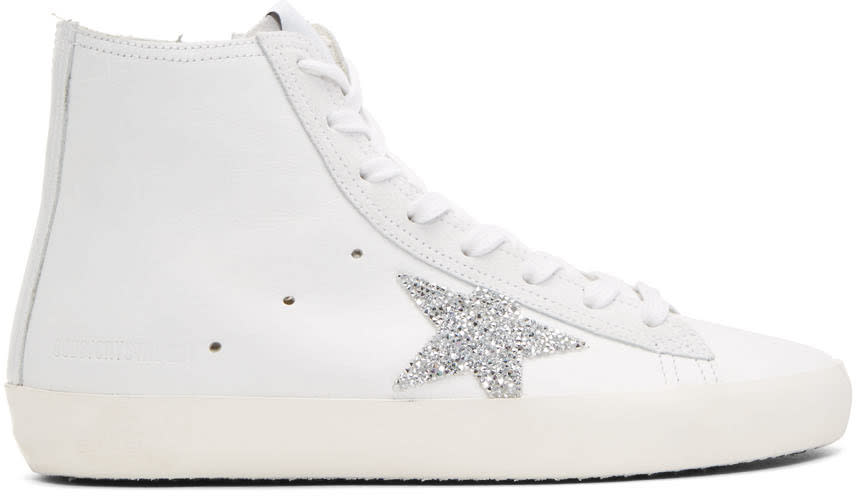 Golden Goose White Crystal Francy High-top Sneakers