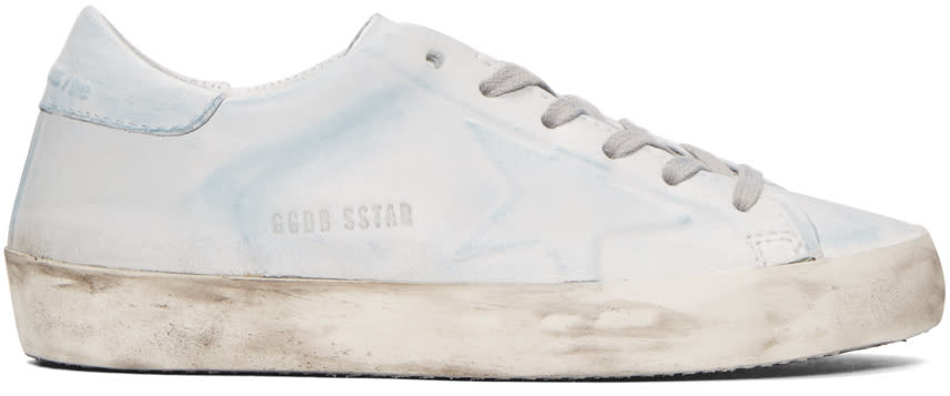Golden Goose Blue and White Superstar Sneakers