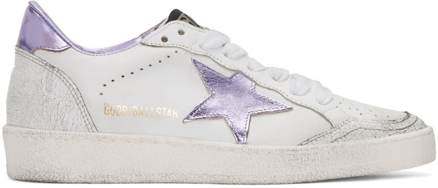 Golden Goose White and Purple Ball Star Sneakers