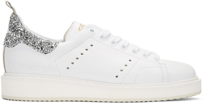 Golden Goose White Glitter Starter Sneakers