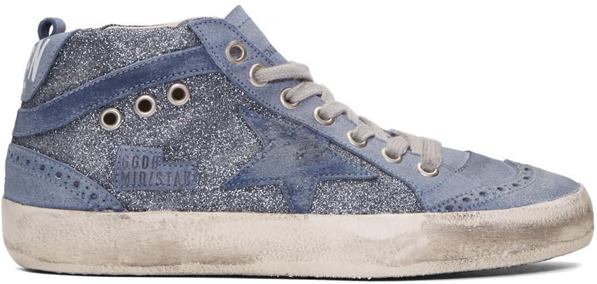 Golden Goose Blue Glitter Mid Star Sneakers