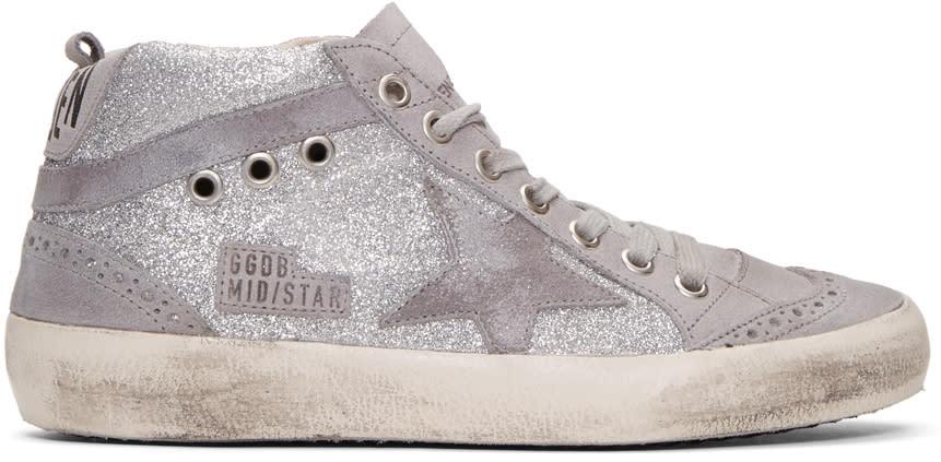 Golden Goose Grey Glitter Mid Star Sneakers